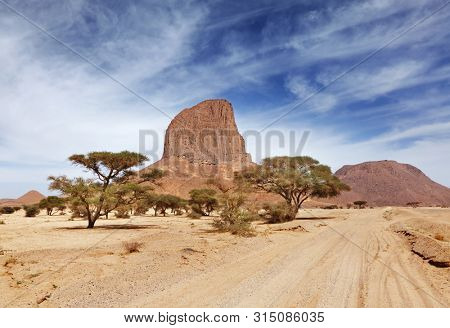 Rock in Sahara Desert, Hoggar mountains, Algeria