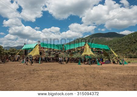 Riomalo De Abajo, Extremadura, Spain - July 15, 2018: View Of The Main Stage Of The Psytrance Lost T