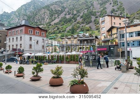 Andorra La Vella, Andorra - June 3, 2019: Placa Rebes Square In Andorra La Vella.