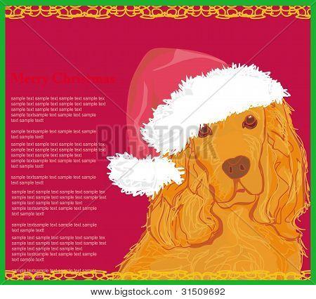 american cocker spaniel laying down wearing santa hat - card poster