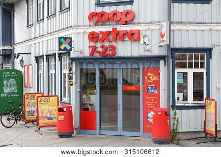 Kabelvag, Norway - July 26, 2015: Coop Extra Supermarket In Norway. It Is Part Of Coop Norge Coopera