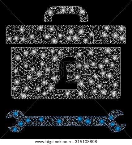 Glowing Mesh Pound Toolbox With Glitter Effect. Abstract Illuminated Model Of Pound Toolbox Icon. Sh