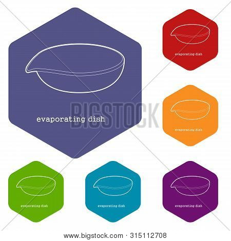 Evaporating Dish Icon In Outline Style Isolated On White Background Vector Illustration
