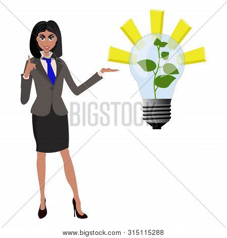 Beatifull Businesswoman Pointing To Successfull Idea From Lamp With Growing Green Plant. Vector Illu