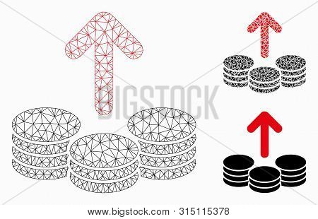 Mesh Payout Coins Model With Triangle Mosaic Icon. Wire Carcass Triangular Mesh Of Payout Coins. Vec