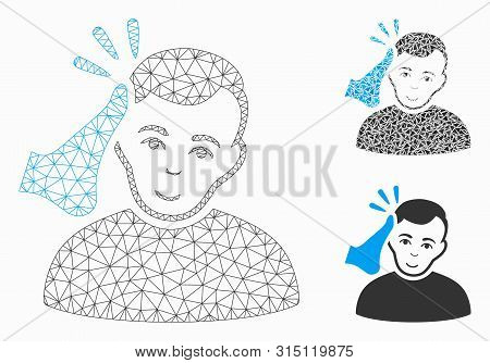 Mesh Kickboxer Model With Triangle Mosaic Icon. Wire Carcass Polygonal Mesh Of Kickboxer. Vector Com