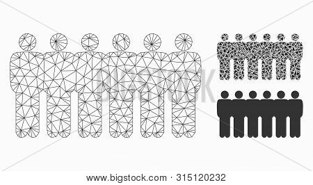 Mesh People Demographics Model With Triangle Mosaic Icon. Wire Frame Polygonal Network Of People Dem