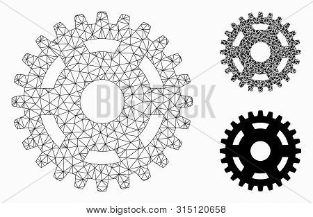 Mesh Pinion Model With Triangle Mosaic Icon. Wire Carcass Triangular Network Of Pinion. Vector Mosai