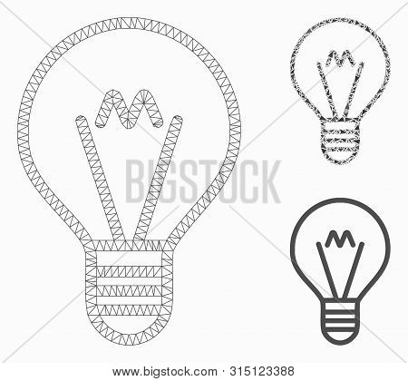 Mesh Hint Lamp Model With Triangle Mosaic Icon. Wire Frame Polygonal Mesh Of Hint Lamp. Vector Colla
