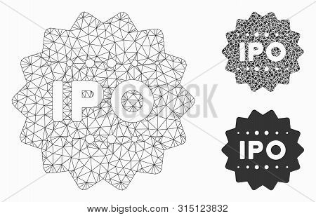 Mesh Ipo Token Model With Triangle Mosaic Icon. Wire Frame Polygonal Mesh Of Ipo Token. Vector Mosai