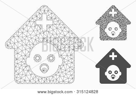 Mesh Prenatal Hospital Model With Triangle Mosaic Icon. Wire Carcass Polygonal Mesh Of Prenatal Hosp