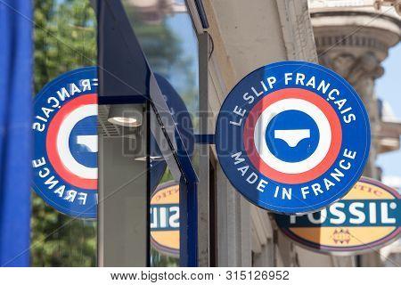 Lyon, France - July 14, 2019: Logo Of Le Slip Francais On Their Local Shop In Lyon. Le Slip Francais