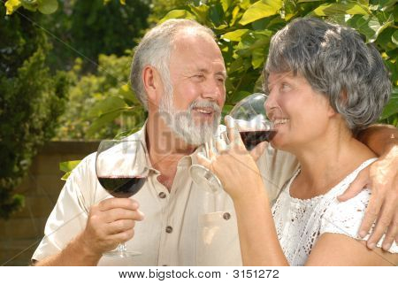 Seniors Sipping Wine