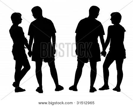 Two Differents Silhouette Of Young Romantic Pairs