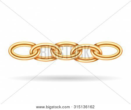 Realistic Golden Chain Texture. Gold Color Chains Link Isolated On White Background. Jewelry Fashion