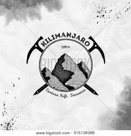 Kilimanjaro logo. Climbing mountain black vector insignia. Kilimanjaro in Eastern Rift, Tanzania outdoor adventure illustration. poster
