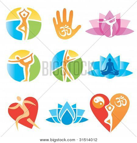 poster of Set of yoga and fitness, colorful icons. Vector illustration.