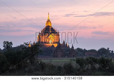 Sunrise Across The Temple Complex In Bagan Myanmar. One Of The Highlights Of Myanmar This Ancient Ci