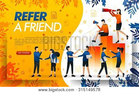 Group Of People Who Shake Hands And Make Deals, Businesses To Refer A Frined And Multi Level Marketi