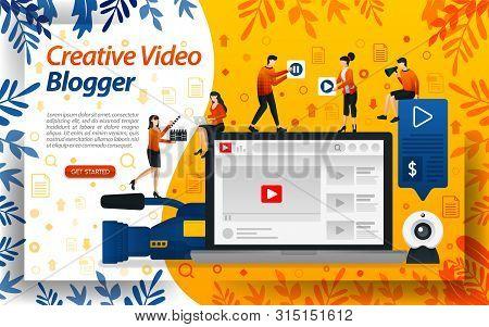 Creative Blogger Video. Vlog Studio For Editing. Online Influencer, Vlogger And Selebgram, Concept V