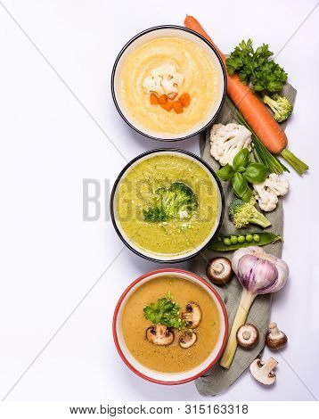 Different Vegan Cream Soups With Vegetables, Clean Eating, Dieting And Healthy Food Concept. Fennel