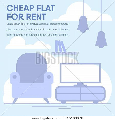 Advertising Banner With Promotion Text Offer Cheap Flat For Rent. Financially Advantageous Propositi