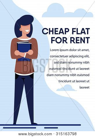 Banner Offers Best Rental Proposition For Student. Young Female Character Holds Book Standing Along.