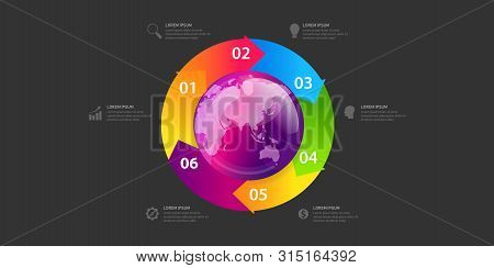 Business Global Infographic Banner Of Globe Map. Business Global Template With Circles. Can Be Used