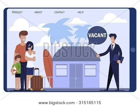 Landing Page Offering Cheap Tent Flat On Vacation. Traveling Family Speaking With Real Estate Agent
