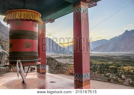 Thiksey, Ladakh, India- Dated:30 July, 2019- Prayer Wheel In Main Gompa Building At Thiksey Monaster