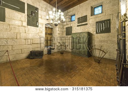 Guimaraes, Portugal  - April 2018:  Exposition Hall In The Palace Of The Dukes Of Braganza