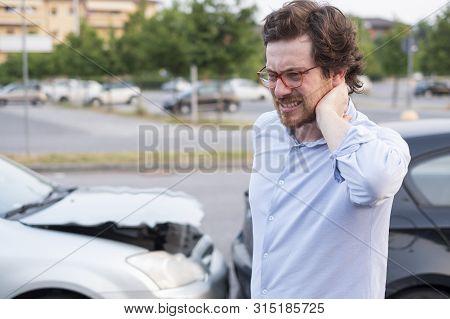 Driver Portrait Feeling Pain After Car Accident
