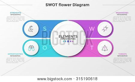 Four Paper White Round Elements With Thin Line Icons Inside And Text Boxes. Swot Flower Petal Diagra
