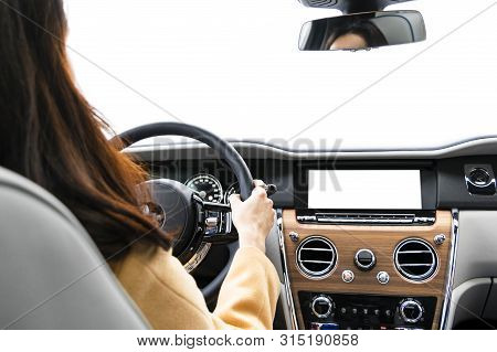 Woman Hands Holding Car Steering Wheel Of A Modern Car. Hands On Steering Wheel Of A Car Driving. Gi