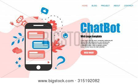 Webpage Template. Chatbot business concept. Communication with chatbot. Artificial intelligence in customer support. poster