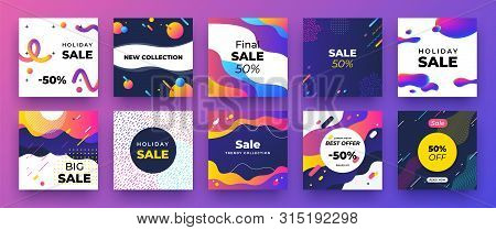 Square Social Media Banner. Fashion Sale Design, Promotion Graphic Layout Template. Vector Trendy Ne
