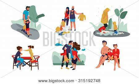 Family Scenes. Happy Parents And Children Trendy Cartoon Characters Spending Time Together At Home A