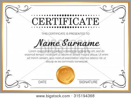 Vector Certificate Template With Golden Frame. Сertificate Design Template.