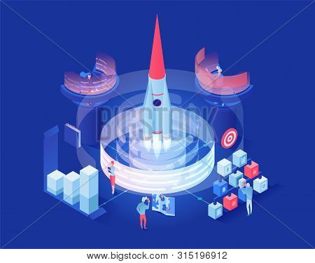 Launching Shuttle Vector Isometric Illustration. Futuristic Space Exploration Research Center Worker