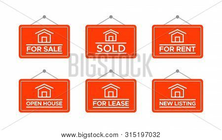 Real Estate Signs, House For Sale. Best For Property, Home Buying Concept.