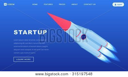 Startups Investment Isometric Landing Page Template. 3d Rocketship, Shuttle Flying In Space, Busines