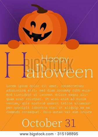Halloween Background With Halloween Pumpkin And Happy Halloween Text.