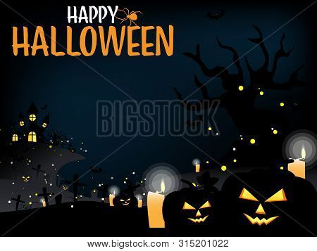 Halloween Background With Haunted House, Halloween Elements And Happy Halloween Text.