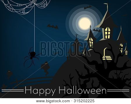 Halloween Background With Haunted House With Moon, Halloween Elements, Spiders And Web And Happy Hal