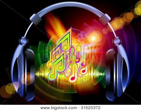 poster of Composition of headphones musical notes abstract design elements colors and lights as a concept metaphor for music sound audiophile performance song party and entertainment