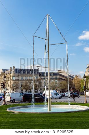 Paris, France - March 26, 2019: New Crystal Illuminated Fountains At Rond-point Des Champs-elysees