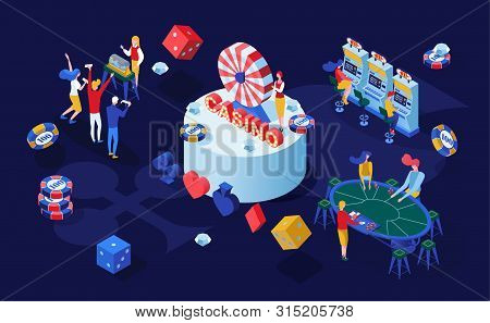 Casino Gambling Games Isometric Vector Illustration. Gamblers Playing Poker, Blackjack Card Games An