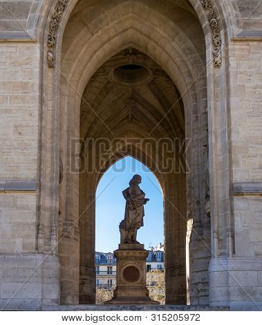 Monument To Blaise Pascal, A French Philosopher, Under The Saint-jacques Tower - Paris, France