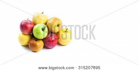 Natural Organic Apples On White Background. Various Fresh Ripe Apples In Different Colors: Red Yello