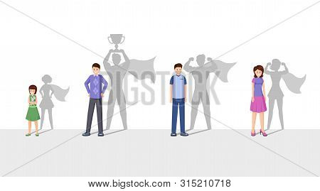 Champions Flat Vector Illustration. Smiling People With Superhero Shadow, Happy Men, Woman And Child